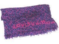100% Auth Louis Vuitton Monogram Leopard Muffler Shawl Stole Silk Cashmere Z616