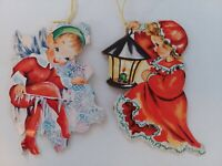 2 PIXIE Elf & GIRL Vtg MCM Hanging CARDS Christmas Greeting Dbl Sided ORNAMENTS