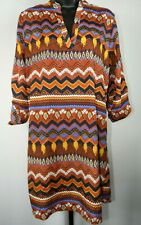 Almost Famous Orange & Blue Striped Long Sleeve Dress Junior's Size Large