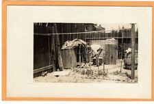 Real Photo Postcard RPPC - Man in Yard with Pole for Beans