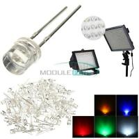 100PCS 5MM 2Pin Red Yellow Blue Green White LED Wide Angle Flat Head Light Lamp