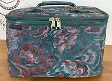 Vintage 80s Constellations Vanity Case Green Floral Fabric Tapestry Woven Bag