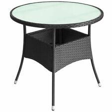 vidaXL Patio Garden Outdoor Round Dining Table Wicker Rattan Black 2 Sizes