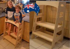 Double Twin Kitchen Helper Tower - Montessori kitchen stool step stool learning