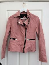 Atmosphere Womens Pink Faux Leather Biker Jacket Size 8