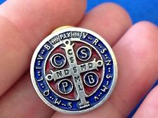 "Saint ST BENEDICT Protection Metal LAPEL PIN Enamel  3/4"" RED BLUE"