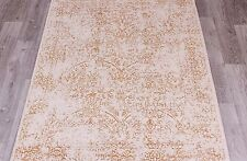 TURKISH ORIENTAL RUG, MODERN, 1.90 x 1.30M, CREAM/IVORY & GOLD, WOOL & VISCOSE