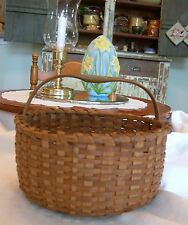 SMALL PRIMITIVE ANTIQUE WOVEN OAK SPLINT BERRY GATHERING BASKET