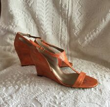 Audrey Brooke Trisha Women's Wedge Sandals Size 7,5 Orange Color New With Box