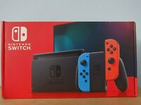 *NEW IN HAND* Nintendo Switch Console Neon Blue/Red V2 Boxed w/ Extended Battery