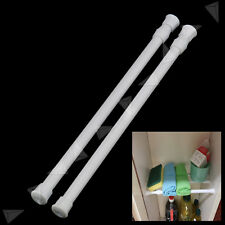 2 x Extendable Spring Loaded Telescopic Net Voile Tension Curtain Rail Pole Rod