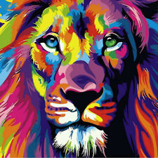 Home Decor Painting Colorful Lion Animal Abstract Number Modern Wall Art Picture