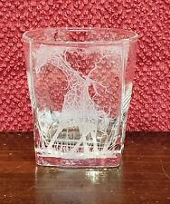 Whisky Glass Square Wildlife Engraved Giraffe