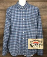 FAHERTY Men's Light Blue Plaid Cotton Spandex Long Sleeve Button Down Shirt XL