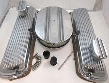 SB Ford SBF Finned Aluminum Valve Cover Kit W/ Air Cleaner 260 289 302 351W V8