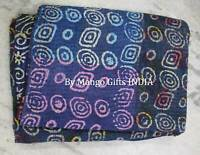 "Vintage Kantha Quilt Ralli Bedspread Twin Reversible Indian Sari Throw 62"" x 88"""