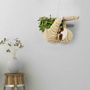 Hanging Sloth Shaped Ceramic Planter Pot Garden Flower/Succulent Pot Decor E9G6