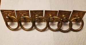 Lot of 6 Vtg Antique Solid Brass Art Deco Ring Cabinet Door Drawer Pulls Handles
