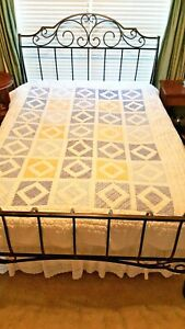 EDDIE BAUER PATCHWORK QUILT TWIN BLUE WHITE YELLOW COTTON PRINTS PRE-OWNED