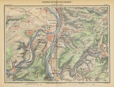Koblenz * grand et décoratif ville-et plan de * farblithographie * 1885 *
