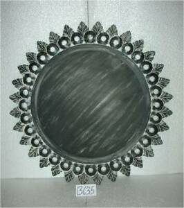 Wall Mirror Round Home Office Living Room Black/White finish MDF & Glass