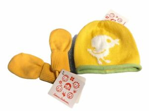 Hanna Andersson Yellow Duck Knit Cap XXS  And Mittens XS
