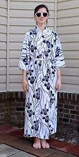 Vintage 50's Japanese Asian Blue Iris Floral Cotton Kimono Robe Lingerie Sz M/L