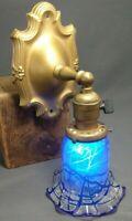 Antique Art Deco Brass Wall Light Sconce Cobalt Blue Art Glass Shade Gold Wash