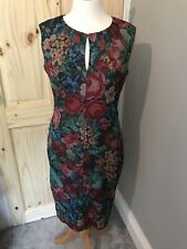 Phase Eight Floral Multicolour Tapestry Mesh Wiggle Bodycon Dress Size 12