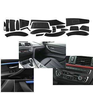3D Interior Matte Black Carbon Fiber Decal Trim Sticker For BMW 3 Series F30 F31