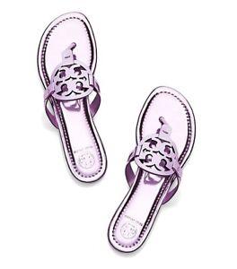 NIB Tory Burch Miller METALLIC ROSA  Leather Thongs Sandals Sz 7.5 M