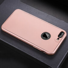 360°Full Body TPU Soft Rubber Case Cover For iPhone 6 6s 7 Plus Tempered Glass