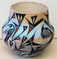 """Vintage Acoma signed Lewis vase 7"""" high, 8"""" wide"""