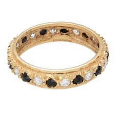 9Carat Yellow Gold Sapphire & Simulated Diamond Fully Eternity Band (Size N)