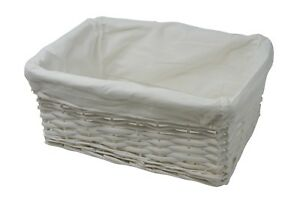 Storage Hamper Basket Medium White Wicker With White Cloth Lining