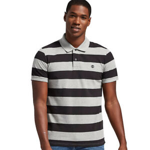 NWT Timberland Men's Millers River Striped Rugby Polo Shirt A1KVN All Cotton