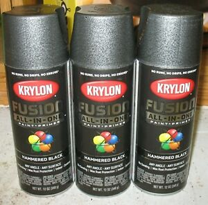 3 New Krylon Fusion Hammered Black In/Outdoor Plastic Wicker+ Paint
