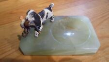 art deco onyx and cold painted metal dog ash tray