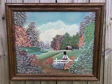 Vtg Original Farm Girl on Fence Landscape Summer Garden Cottage Painting SIGNED