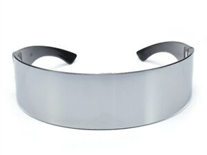 Silver Chrome Glasses Wrap Around Sunglasses Mirror Cyborg Cyclops Fancy Dress