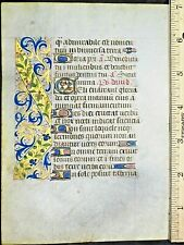 Illuminated medieval BoH leaf,11 gold-heightened Initials&border,ica.1480