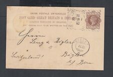 Uk 1890 1d Victoria Ps Card London Hoster Machine Cancel To Biglen Switzerland