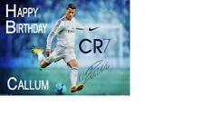 Personalised Cristiano Ronaldo Birthday Cake Topper a4 Icing Sheet 10 x 8 anynameage