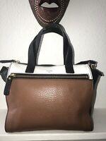 Fossil Black, Brown And White Satchel Leather Crossbody Shoulder Bag