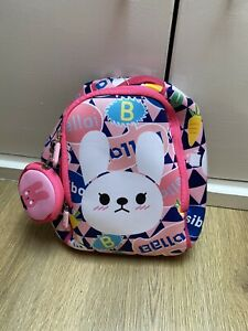 Mini Pink Cute Bow Mouse Cartoon Face Soft Plush Girls Kids Backpack Toy Bag