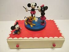 MICKEY MOUSE JEWELRY AND MUSIC BOX ALL WOOD FROM 1940s GOOD CONDITION WORKS