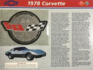 1978 CORVETTE Willabee & Ward OFFICIAL PATCH COLLECTION CARD ~ 25th Anniversary