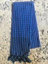 Krama BLEU Khmer traditionnel Echarpe mixte en coton Tissé main Cambodge 108