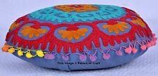 Cotton Suzani Embroidered Pillow Case Ethnic Indian Pom Pom Cushion Cover Decor