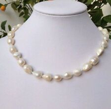 """Natural Pearl 9-10mm baroque white freshwater pearl necklaces 18"""" PN307"""